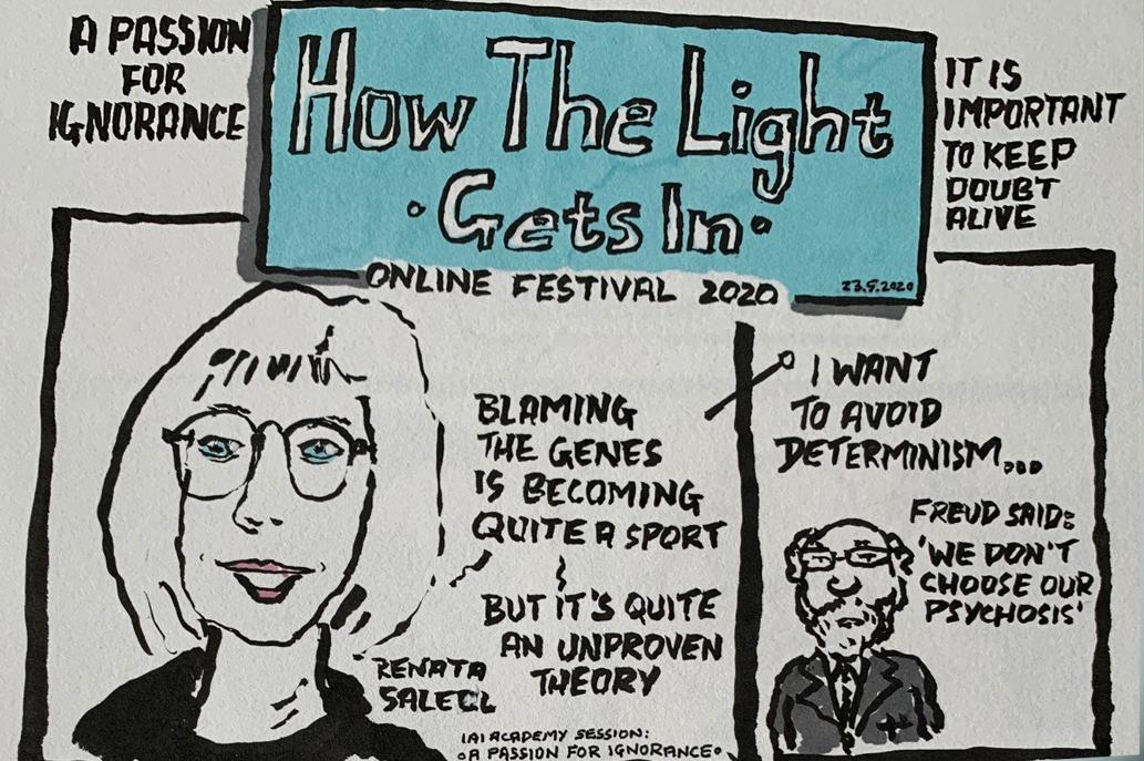 Grafično-stripovski povzetek predavanja dr. Renate Salecl