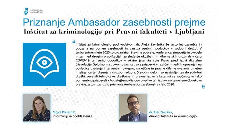 Inštitut za kriminologijo prejel nagrado Ambasador zasebnosti